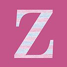 Letter Z Blue And Pink Dots And Dashes Monogram Initial by theartofvikki