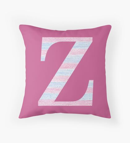Letter Z Blue And Pink Dots And Dashes Monogram Initial Throw Pillow