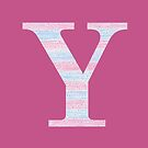 Letter Y Blue And Pink Dots And Dashes Monogram Initial by theartofvikki