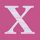 Letter X Blue And Pink Dots And Dashes Monogram Initial by theartofvikki