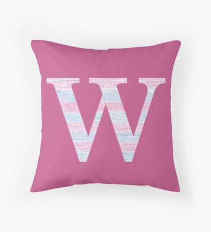 Letter W Blue And Pink Dots And Dashes Monogram Initial Throw Pillow