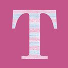 Letter T Blue And Pink Dots And Dashes Monogram Initial by theartofvikki