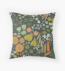 Botanical Sketchbook M+M Navy by Friztin Throw Pillow