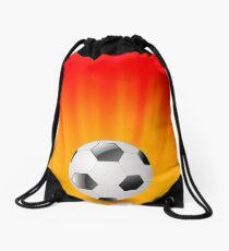 Sport Football Icon on Orange Wave Background Drawstring Bag