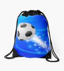 Sport Football Icon on Blue Blurred Wave Background Drawstring Bag
