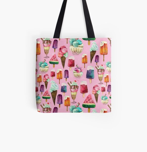 ice-cream pattern All Over Print Tote Bag