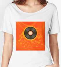 Retro Vinyl Disc on Red Blurred Background Women's Relaxed Fit T-Shirt