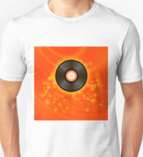 Retro Vinyl Disc on Red Blurred Background Unisex T-Shirt