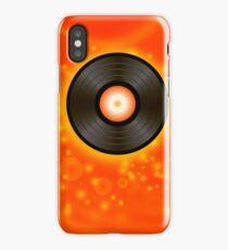 Retro Vinyl Disc on Red Blurred Background iPhone Case/Skin