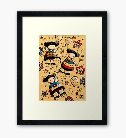 Three Asian Dolls with Balloons Framed Print