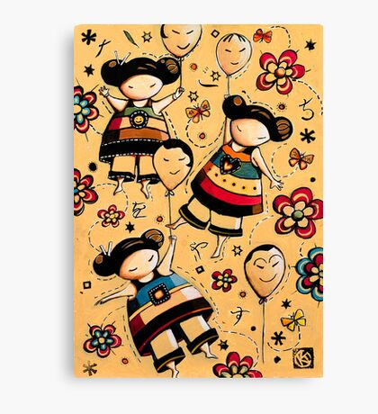 Three Asian Dolls with Balloons Canvas Print