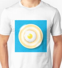 Fried Egg Icon Isolated on Blue Ornamental Background. Top View. T-Shirt