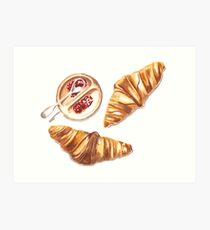 Watercolor Croissants with Jelly Art Print