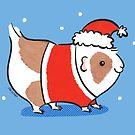 Santa Piggy - Santa Claus Guinea Pig by Zoe Lathey