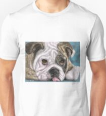 Painting of a brown and white Bulldog lying down with his tongue out T-Shirt