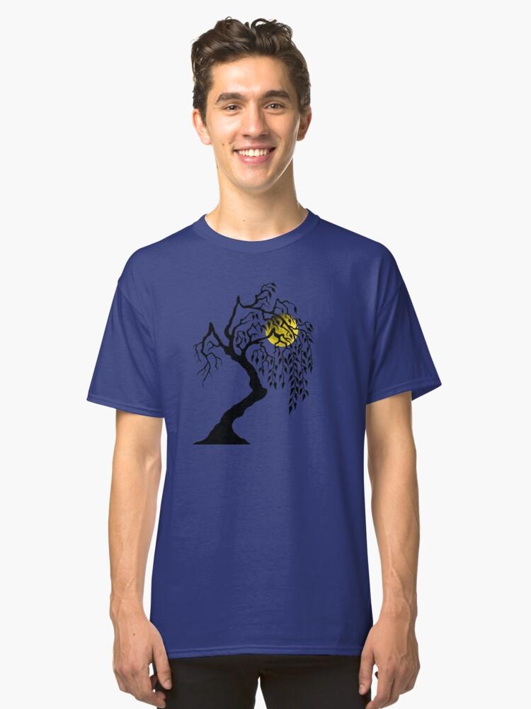 black tree yellow moon Classic T-Shirt Front