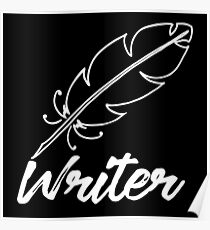 Writer with feather quill Poster