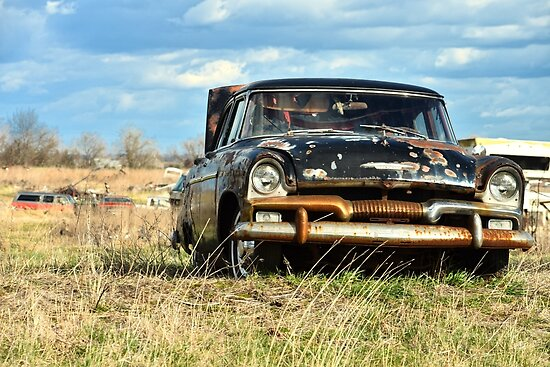 Junkyard Vibes: Black Rusted Car by earteaga