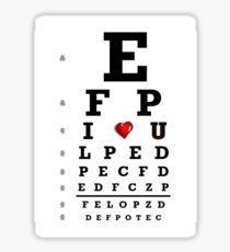Eye chart optometry optometrist love Snellen vision Sticker
