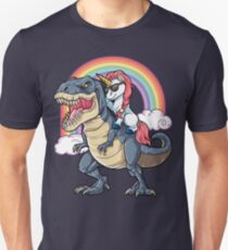 Unicorn Riding T-Rex Dinosaur T Shirt Funny Unicorns Rainbow Gifts Unisex T-Shirt