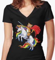 Cat Riding Unicorn T-shirt Funny Kitty Kitten Unicorns Gifts Women's Fitted V-Neck T-Shirt