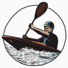 Kayak Paddler Canoe Scratchboard  by patrimonio