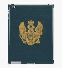 Dark Blue cloth book cover with eagles design in gold iPad Case/Skin