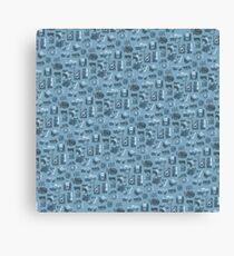 Blue Camera Pattern Canvas Print
