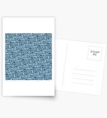 Blue Camera Pattern Postcards