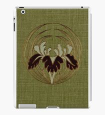 Green cloth book cover with metallic inlay orchid design iPad Case/Skin