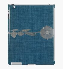 Blue cloth book cover with silver single stem flower design iPad Case/Skin