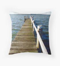 the jetty, Lake Budgewoi  Throw Pillow