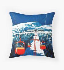 Vintage winter wonderland gondola winter sport snow ski Throw Pillow