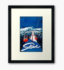 Vintage winter wonderland gondola winter sport snow ski Framed Print