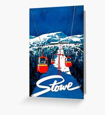 Vintage winter wonderland gondola winter sport snow ski Greeting Card