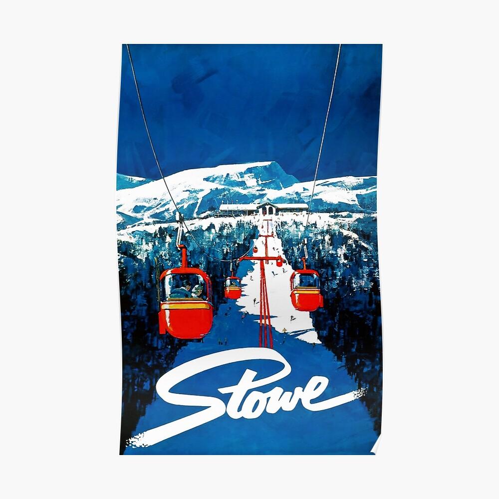 Cartel del esquí del viaje del invierno de la góndola de Stowe del vintage Póster
