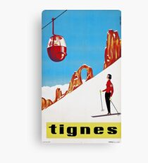 She Skis Alone, Vintage ski sport poster art Canvas Print