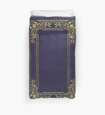 Blue leather book cover with gold inlay harp design Duvet Cover