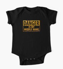 DANGER, Is My Middle Name - Metal Caution Warning Rusty Sign Short Sleeve Baby One-Piece