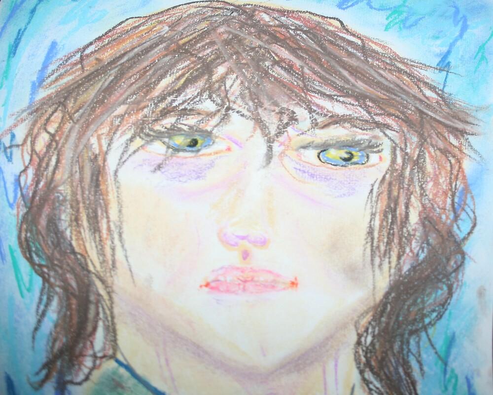 My Son Jon's Self Portrait, Age 10 by Debbie Sickler