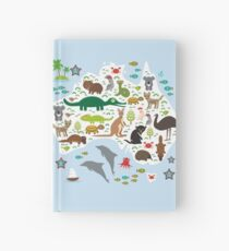Australian animal map and ocean Hardcover Journal