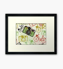 Vintage camera and bicycles Framed Print