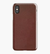 Deep crimson brown leather book cover with linear gold inlay border design iPhone Case/Skin
