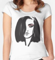 The Face of a Woman with Pink Eyeshadow  Women's Fitted Scoop T-Shirt