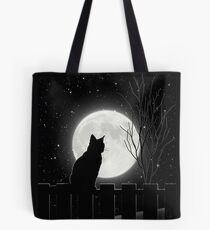 Silent night Cat looking at the full moon Tote Bag