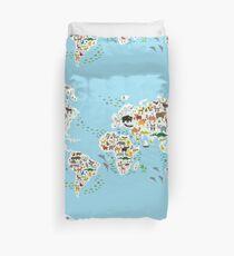 animal world map  Duvet Cover