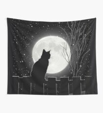 Silent night Cat looking at the full moon Wall Tapestry