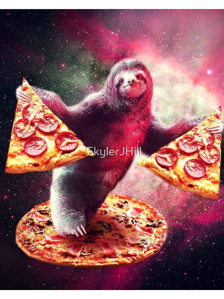 Lustige Space Sloth mit Pizza von SkylerJHill