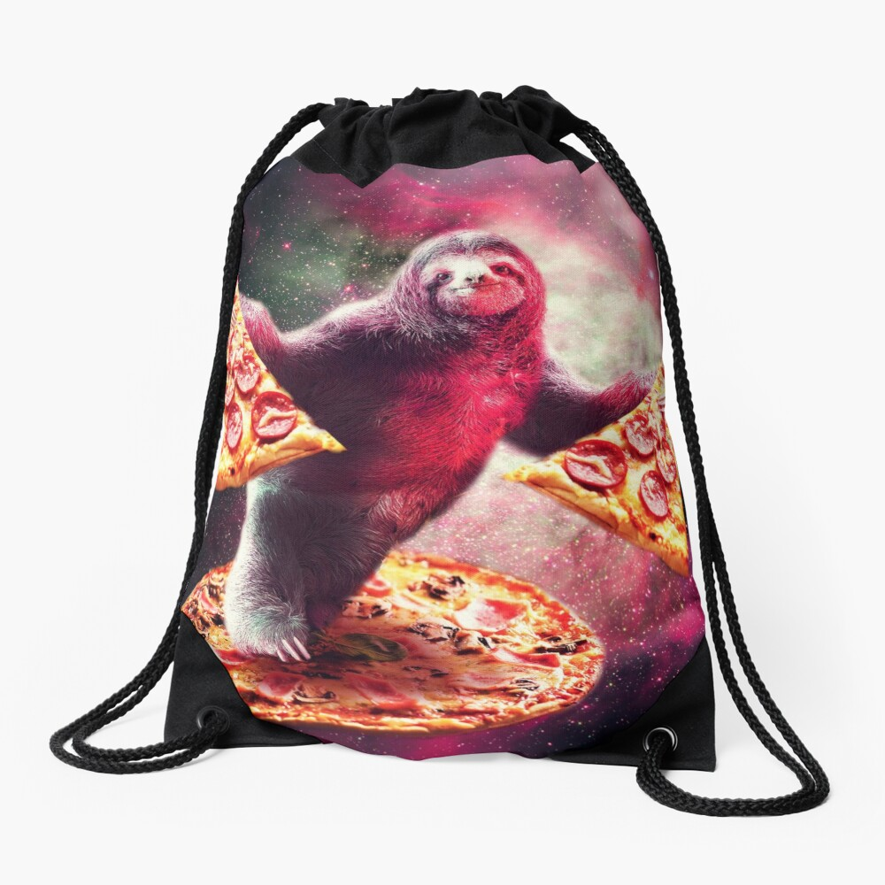 Funny Space Sloth With Pizza  Drawstring Bag