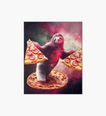 Funny Space Sloth With Pizza  Art Board